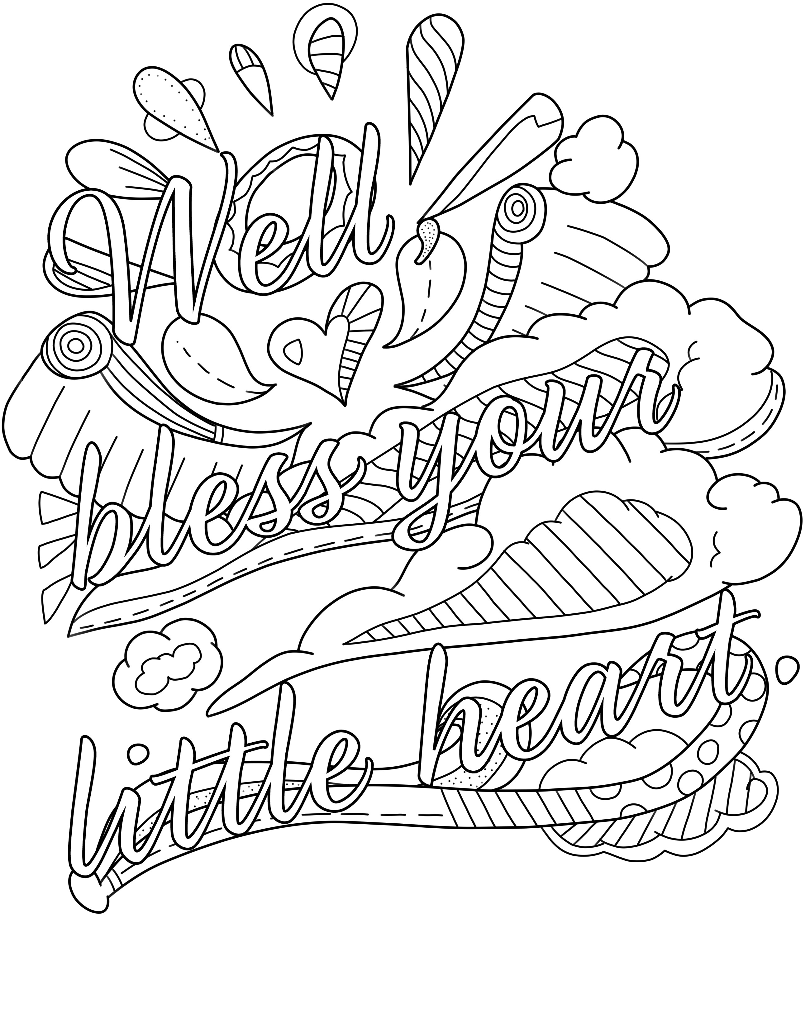 2600x3300 Sturdy Curse Word Coloring Pages Printable Free Swear Page