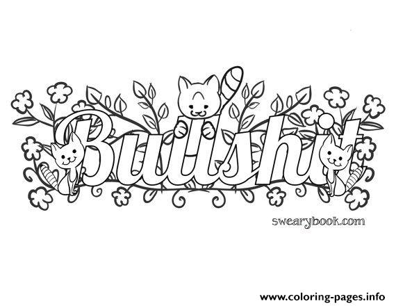 570x440 Bullshit Swear Words Word Adult Coloring Pages Printable