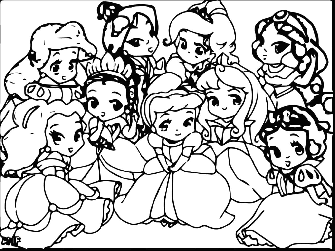 1375x1028 Cute Disney Princess Coloring Pages
