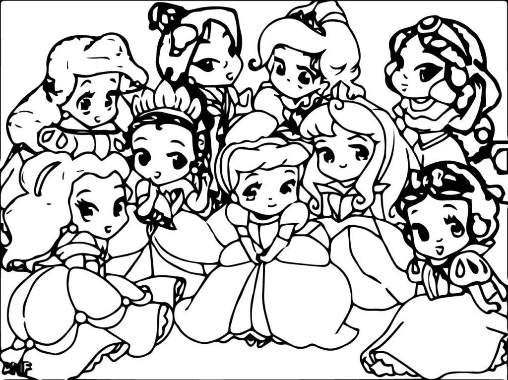 1024x766 Disney Princess Cuties Coloring Pages Cute Baby Page Printable