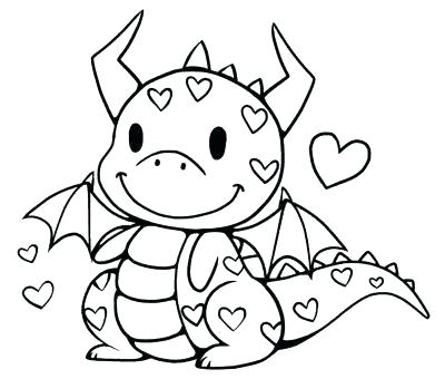 400x340 Coloring Pages For Cute Dragons