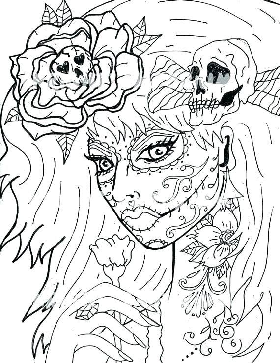 570x738 Day Of The Dead Coloring Pages Skulls Day Of The Dead Coloring