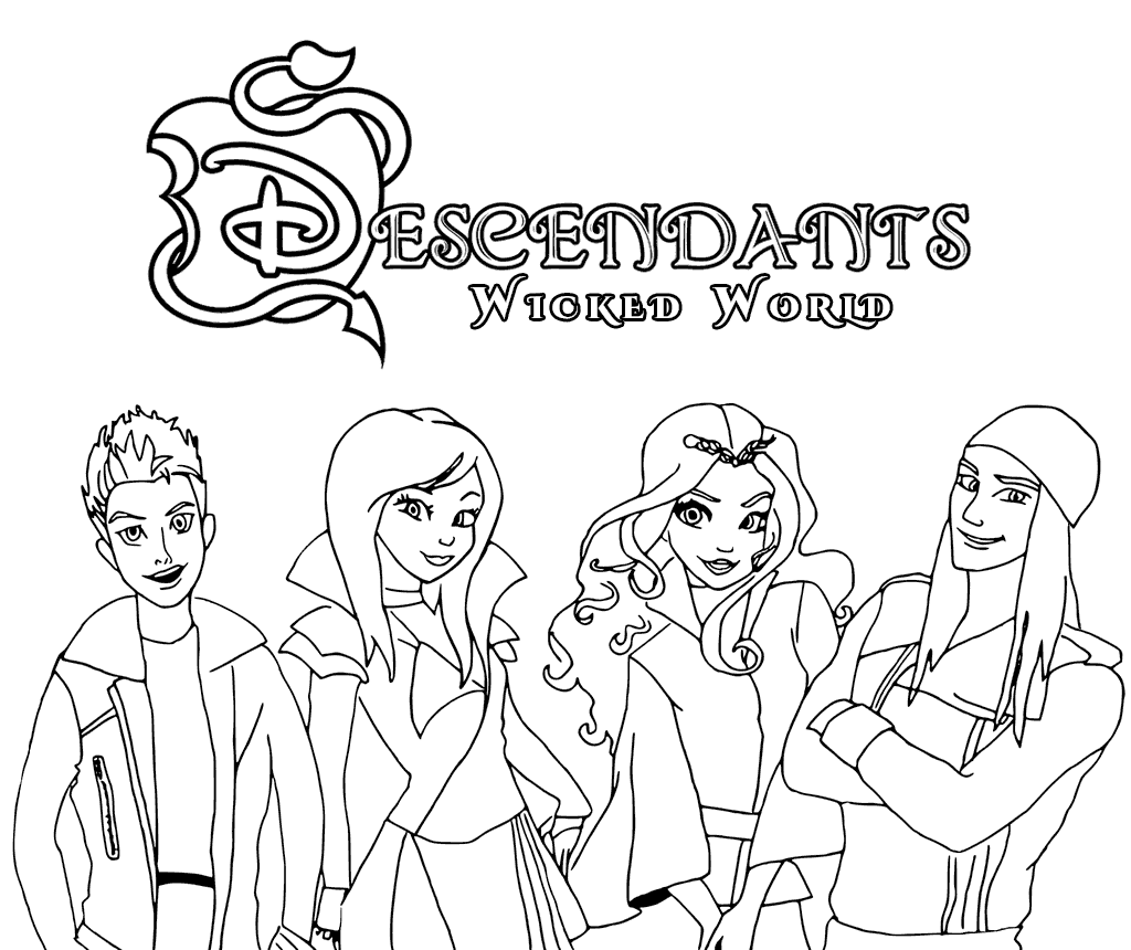 1024x860 Descendants Wicked World Coloring Pages