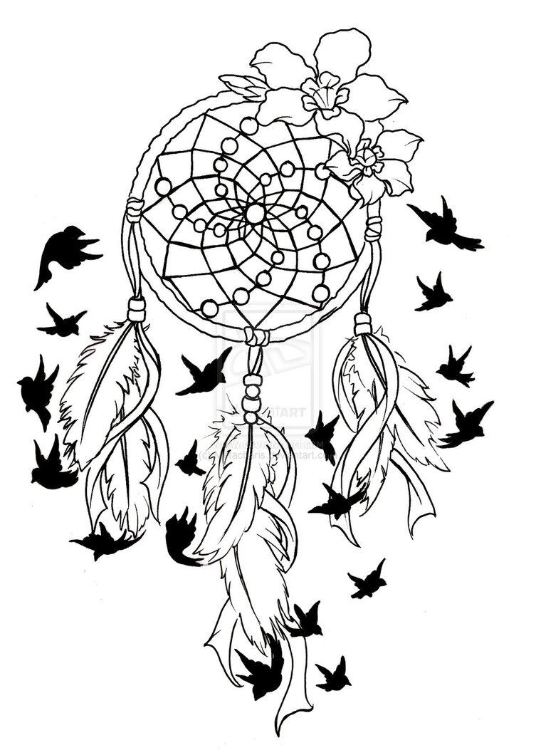 753x1060 Dreamcatcher Coloring Page