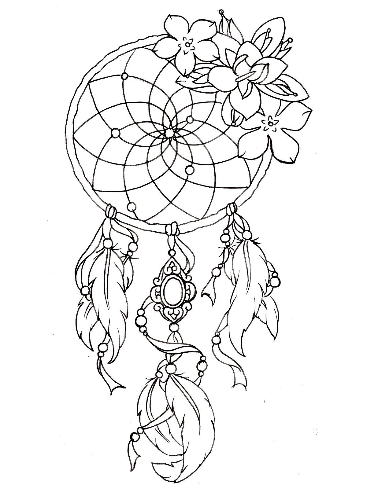 1200x1600 To Print This Free Coloring Page Dreamcatcher Tattoo