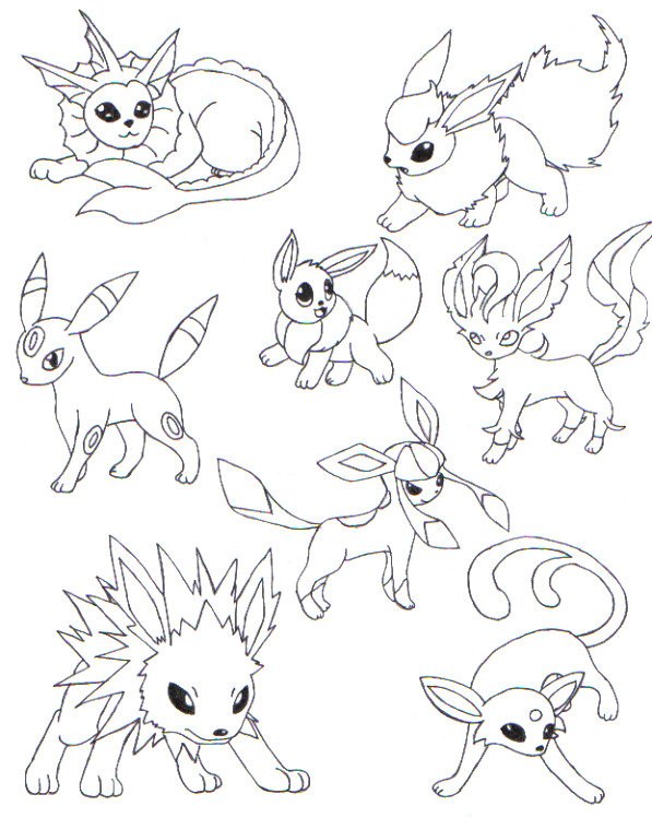 597x749 Free Pokemon Coloring Pages Eevee And Evolution
