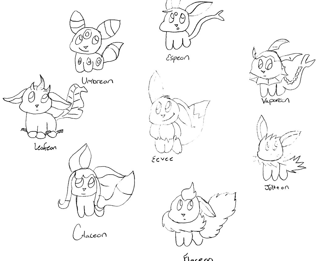 1024x843 Pokemon Coloring Pages Eevee Evolutions Together Copy Pokemon