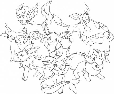 480x397 Pokemon Coloring Pages Eevee Evolutions Drawing Board Weekly