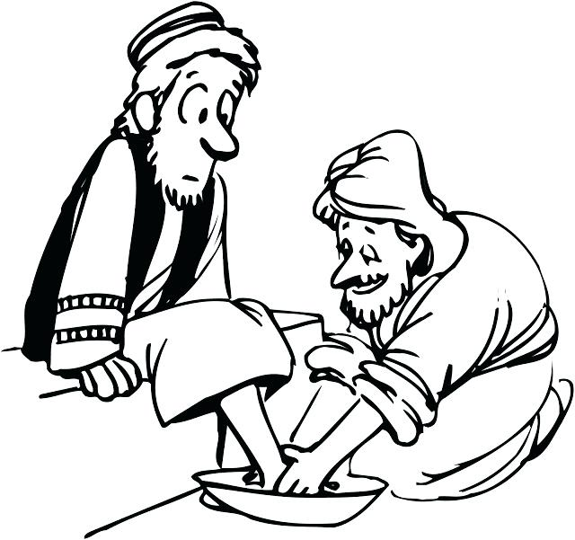 640x601 Jesus Washing Feet Coloring Page Foot Washing Coloring Pages Top