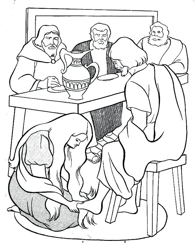 640x798 Coloring Page Anointing The Feet Of Bible Coloring Pages Jesus