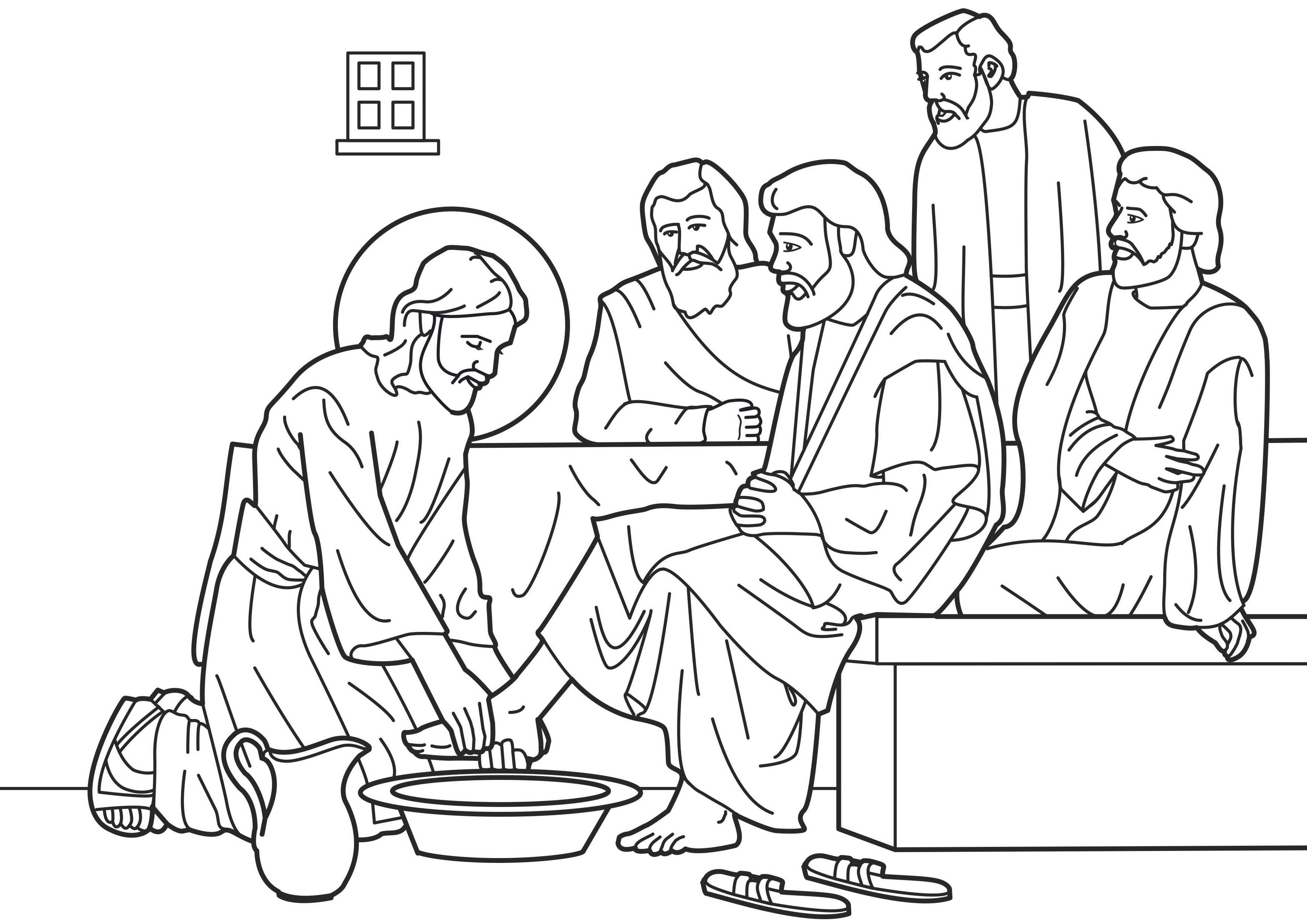 3508x2480 Pretty Nifty! Holy Thursday Lenten Coloring Page Jesus Washes His