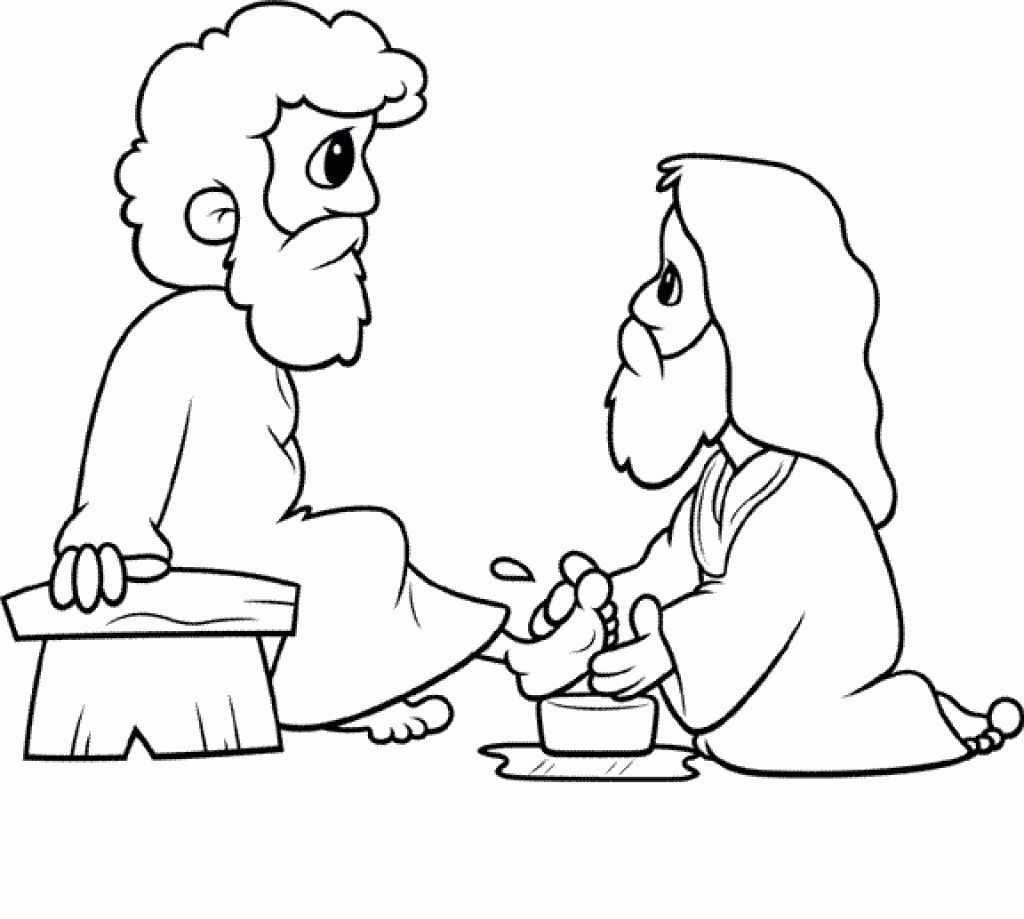 1024x919 Feet Coloring Pages Fabulous Jesus Washes The Disciples Feet