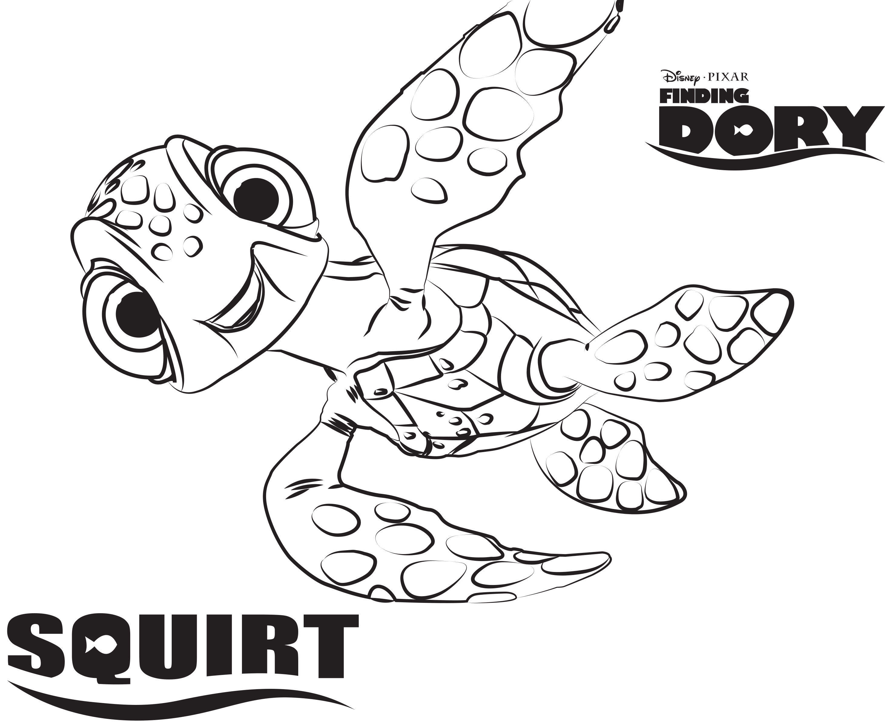 2923x2401 Sea Turtle Squirt In Finding Dory Coloring Page