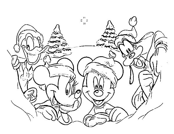 600x462 Disney Coloring Pictures Classic Disney Gang On Christmas