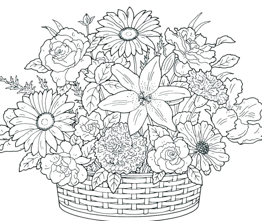 875x736 Coloring Pages Of Flowers Simple Flower Coloring Pages Flower