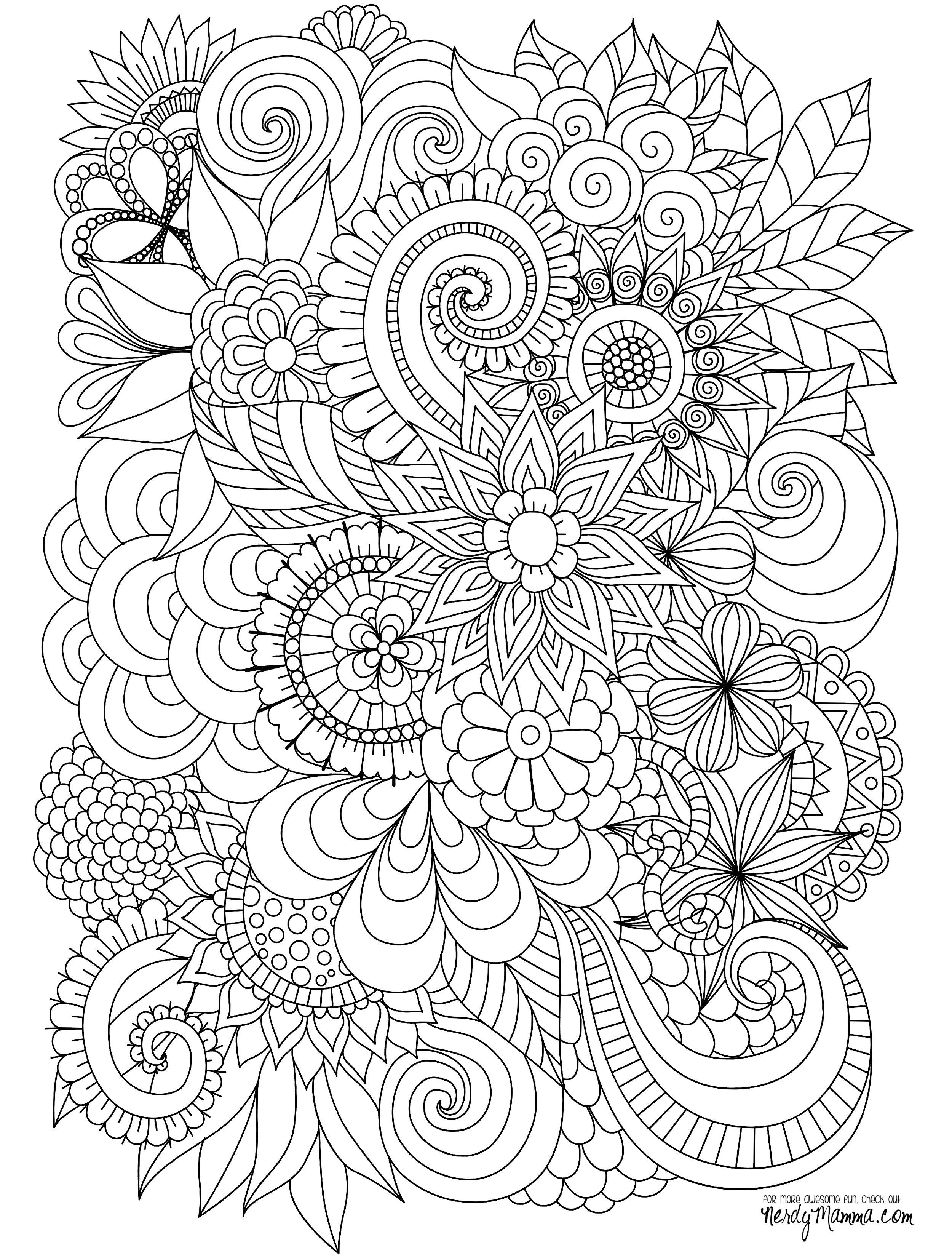 2500x3300 Flowers Abstract Coloring Pages Colouring Adult Detailed Advanced