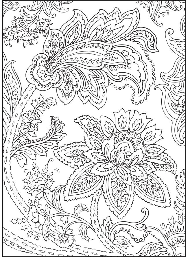 650x892 Paisley Flowers Abstract Doodle Coloring Pages Colouring Adult