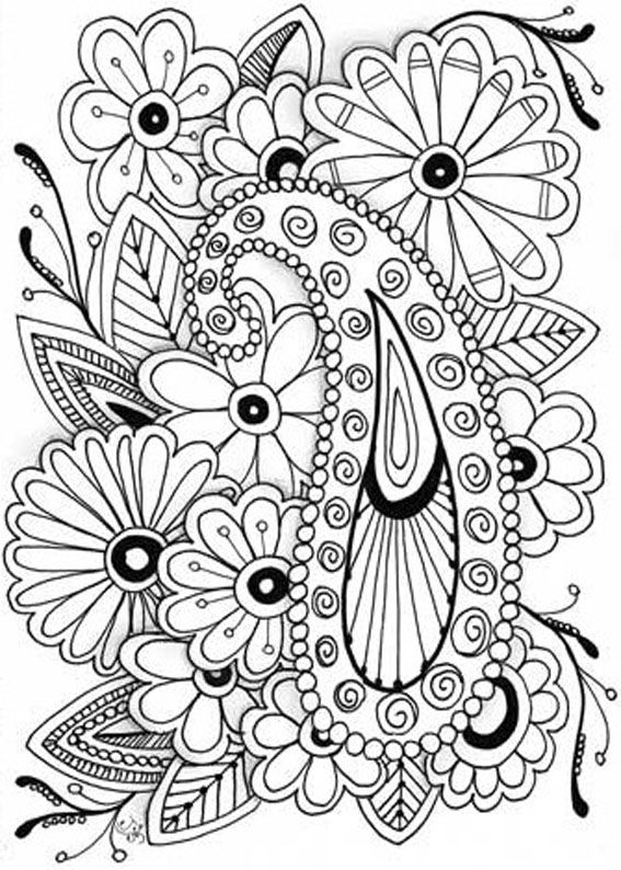 567x794 Printable Coloring Pages For Adults Flowers Adult Coloring Pages