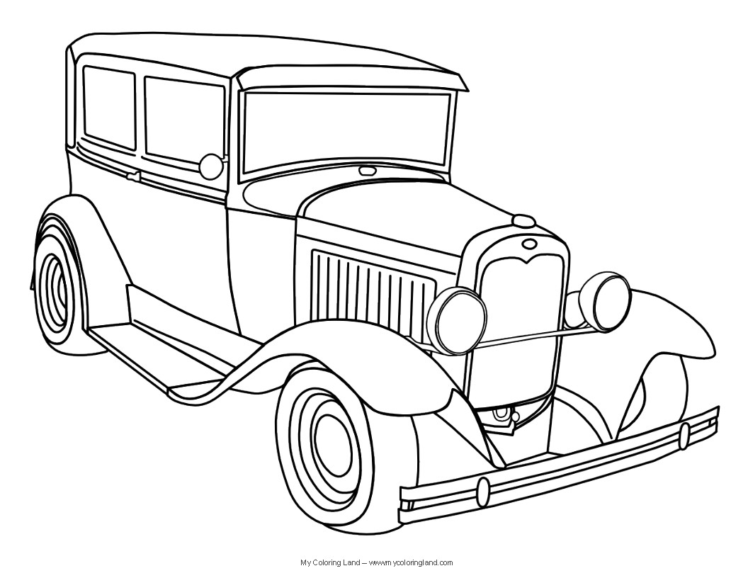 1056x816 Classic Cars Coloring Pages For Adults
