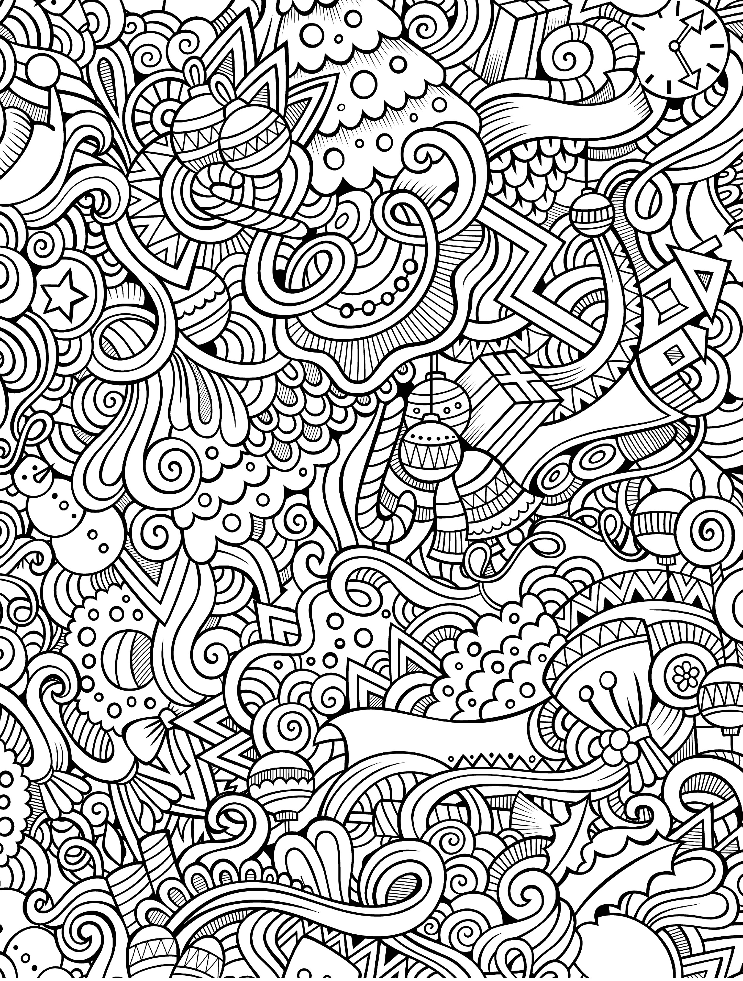 2500x3300 Free Printable Holiday Adult Coloring Pages