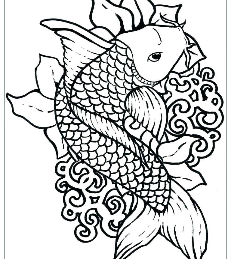 768x864 Fish Coloring Pictures Valentine Fish Coloring Page Printable