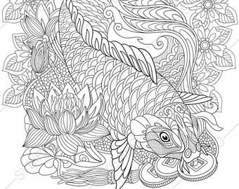 340x270 Koi Fish Coloring Etsy
