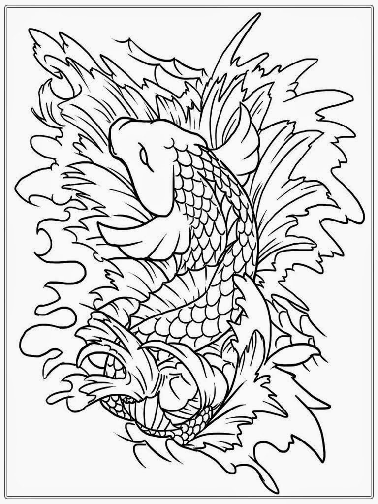 768x1024 Adult Coloring Pages Fish