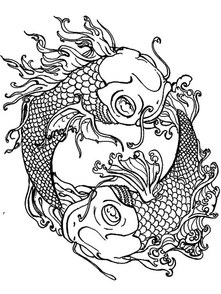 750x1000 Adult Coloring Pages Koi Fish Printable