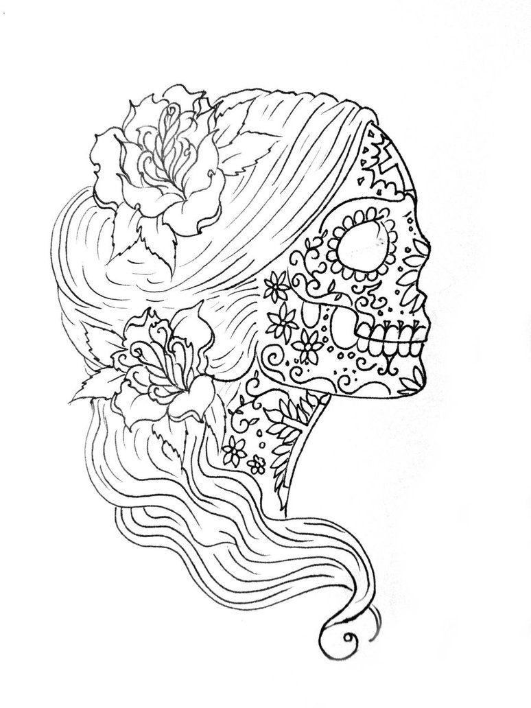 774x1032 Coloring Simple Sugar Skull Drawing Sugar Skull Coloring Pages