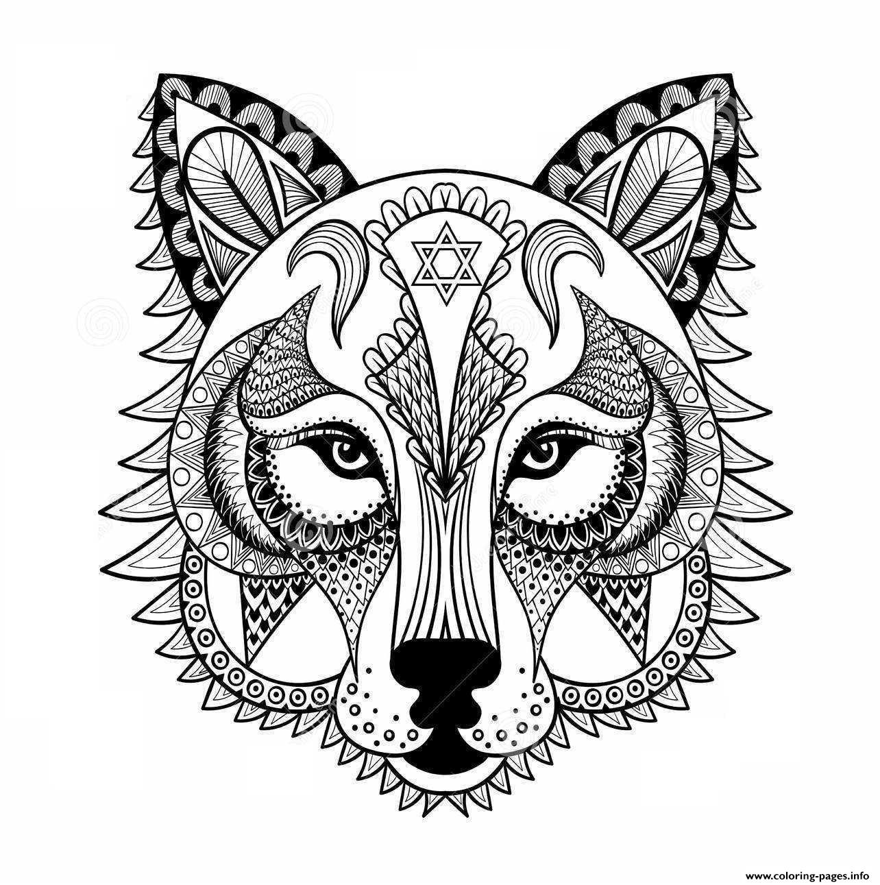 1284x1291 Wolf For Adult Anti Stress Coloring Pages Printable Endear Page