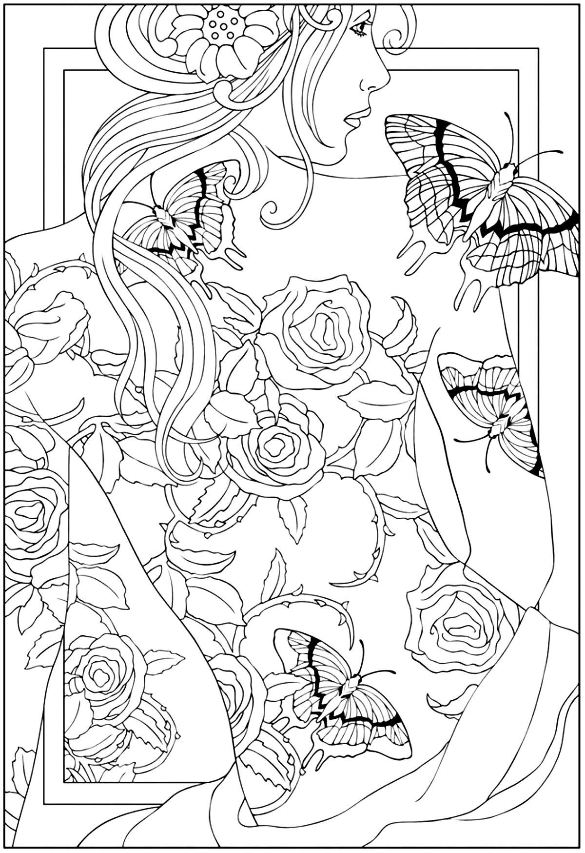 1200x1748 Free Coloring Page Adult Back Tattooed Woman Regarding Pages