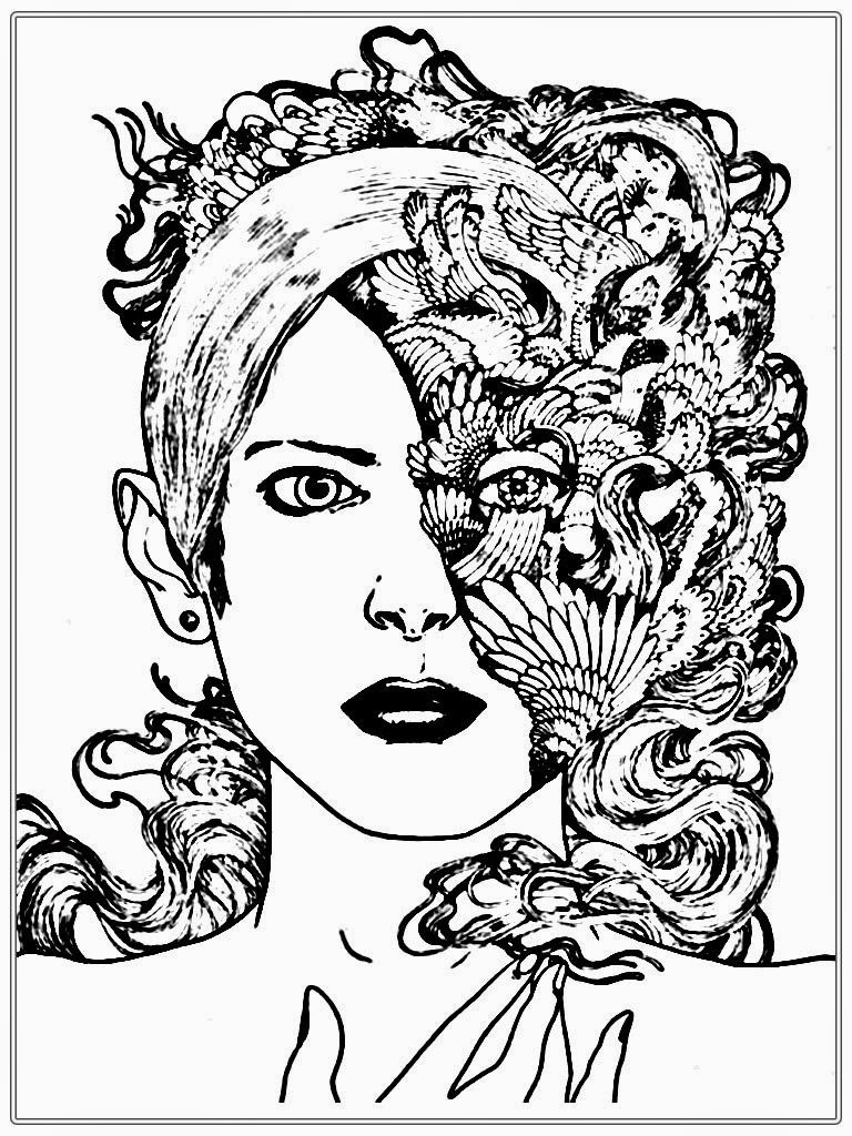 768x1024 Half Women Faces Coloring Pages For Adult Endear Woman Acpra
