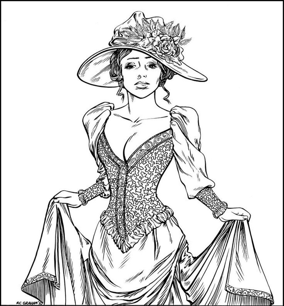 920x990 Victorian Woman Realistic Coloring Pages For Adults Fashion Within
