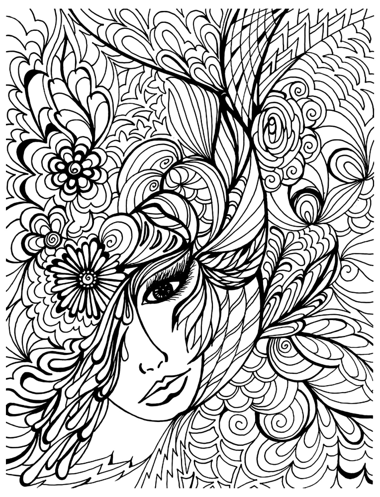 764x1000 Natural Woman Face Doodle Intricate Advanced Coloring Pages