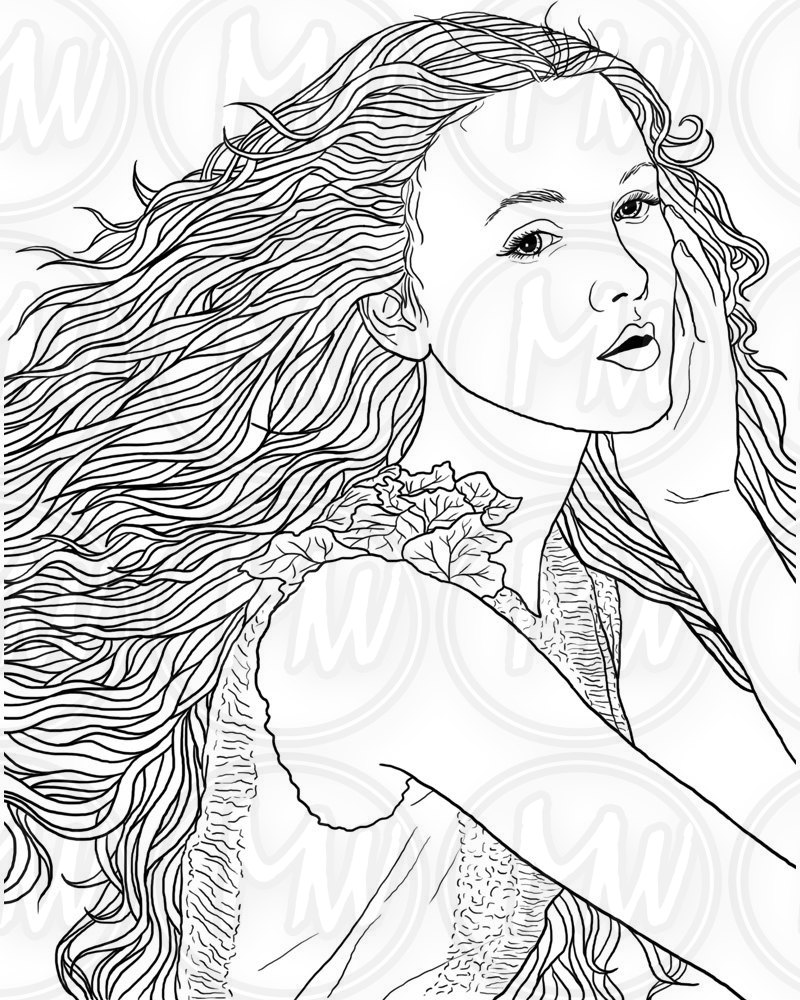 800x1000 Adult Coloring Page Woman Face Long Hair Illustration