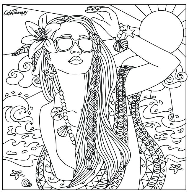 640x655 Beach Babe Coloring Page Beautiful Women Coloring Pages