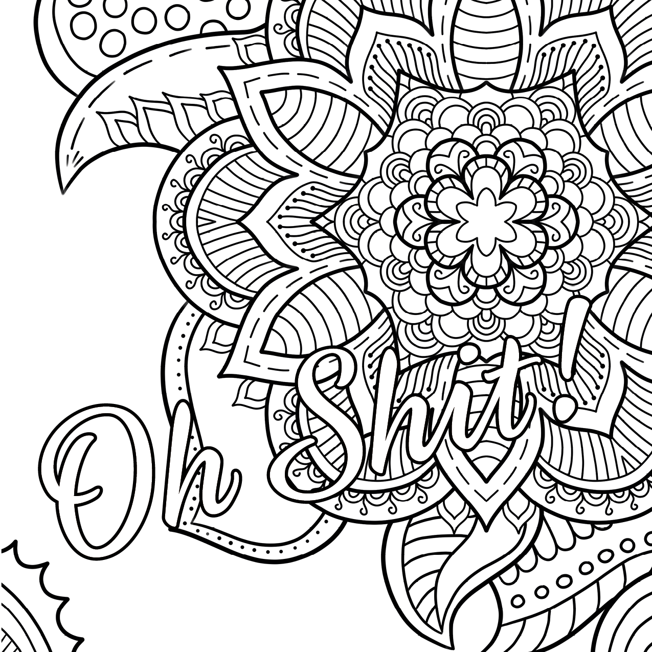 1275x1275 Easy Free Printable Coloring Pages For Adults Swear Words Only