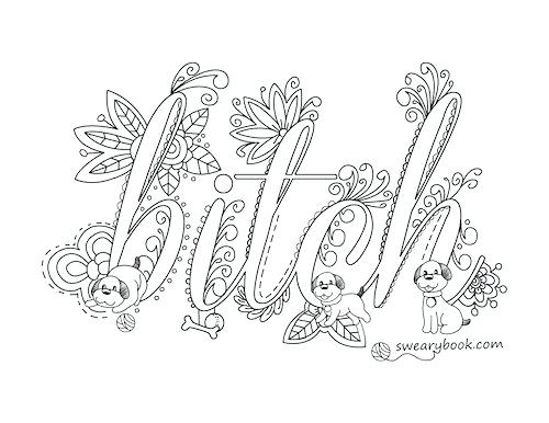 500x386 Elegant Swear Coloring Pages Free Or Bitch Swear Words Coloring