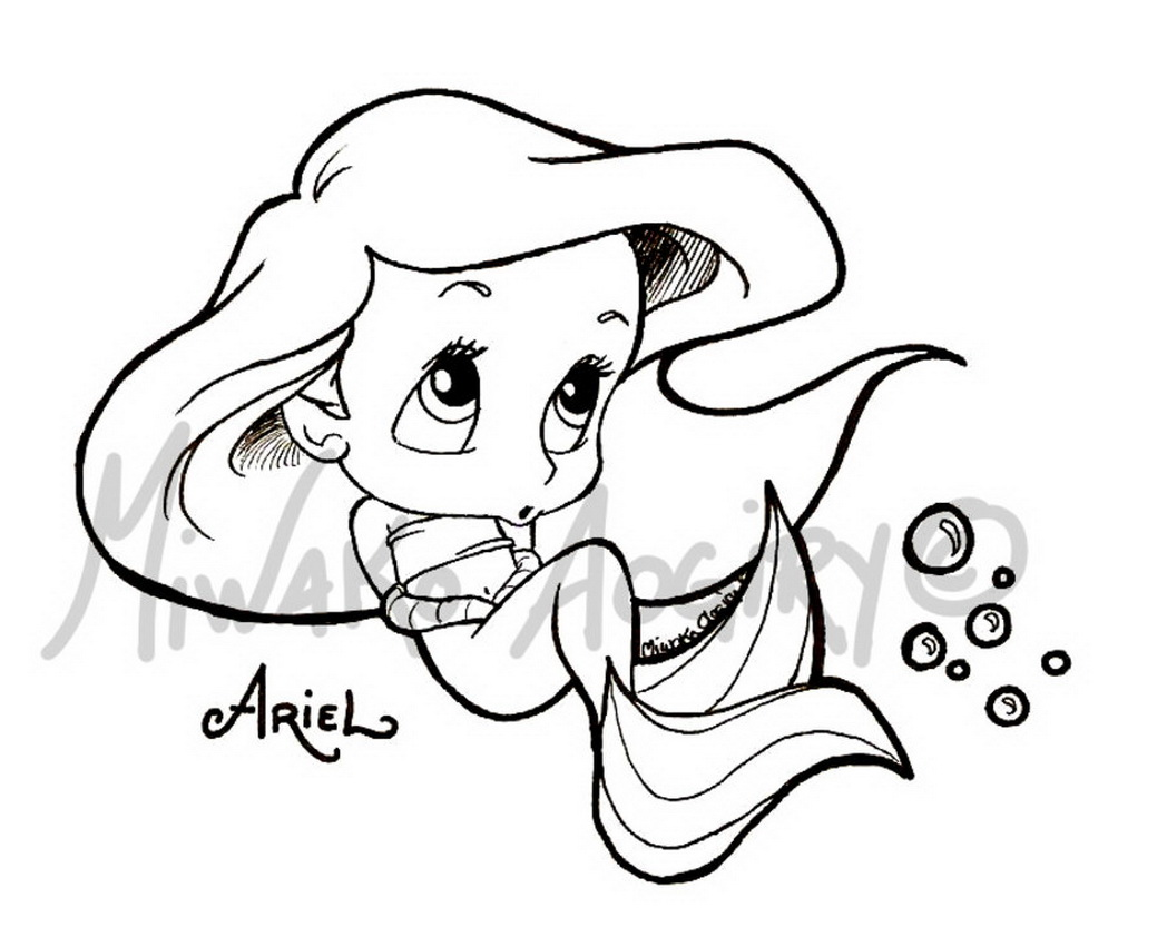 1048x842 Baby Ariel Coloring Pages