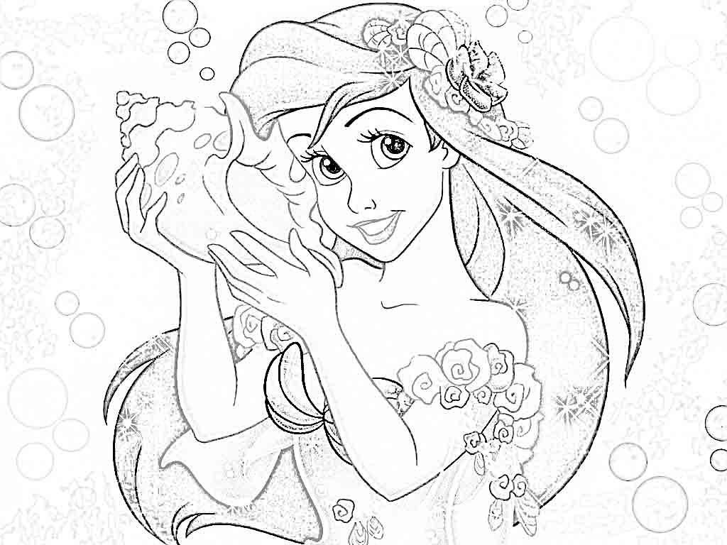 1024x768 Disney Princess Coloring Pages Ariel Colorine Body Ariel