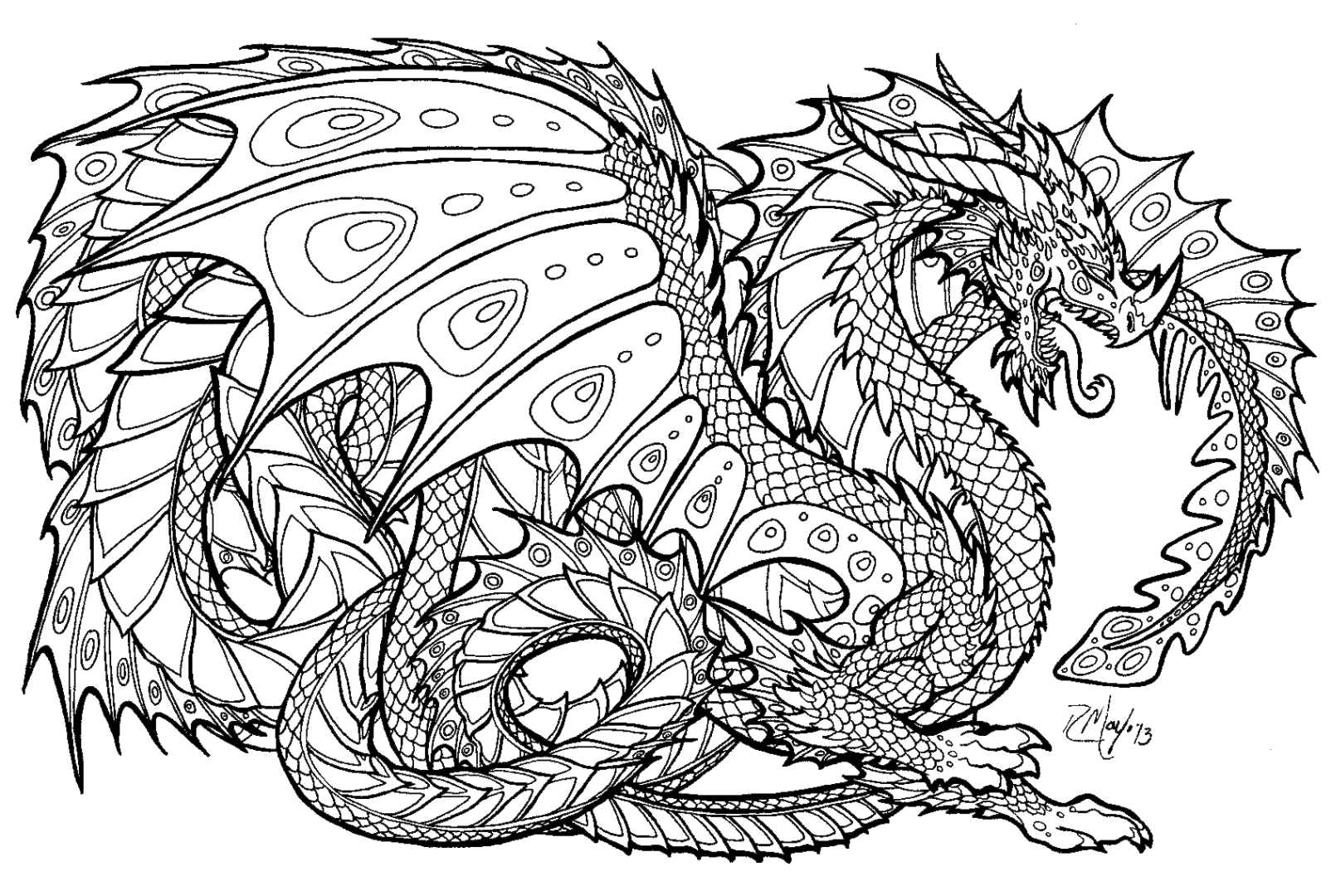 1604x1080 Dragon Coloring Pages For Adults