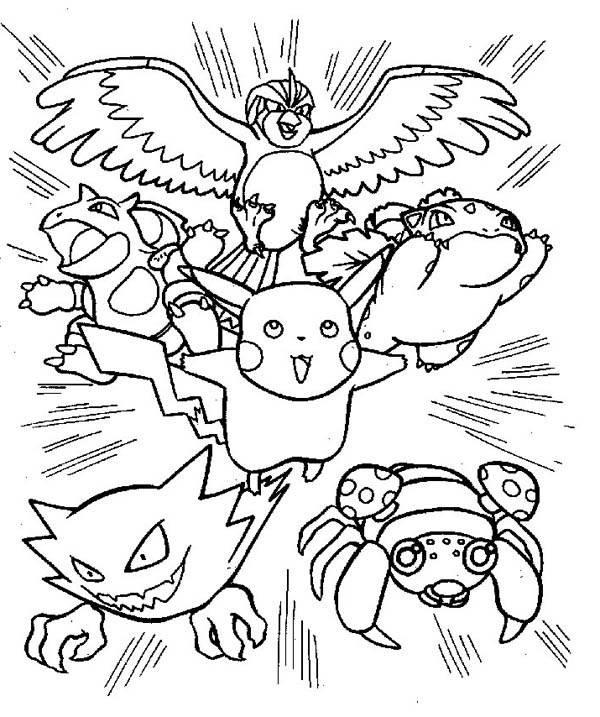 600x717 Pikachu And Friends Attack Pokemon Coloring Page