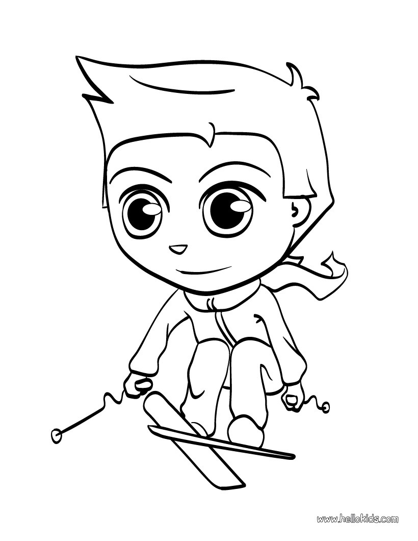 820x1060 Skiing Kid Coloring Pages