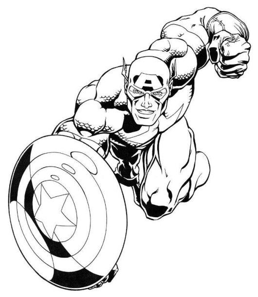 530x611 Captain America Marvel Superheroes Coloring Pages