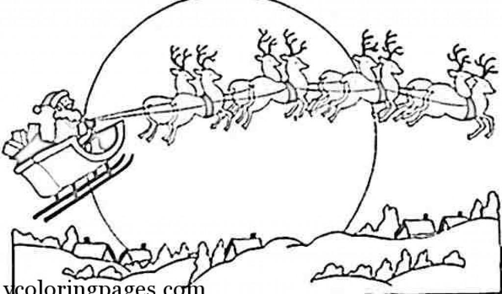1024x600 Christmas Coloring Pages Santa And Reindeer Santa And Reindeer