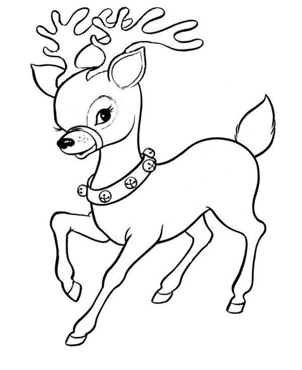 600x734 Cute Santa Reindeer Christmas Coloring Page
