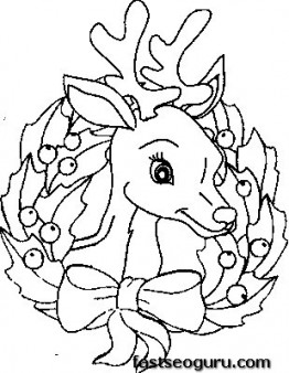 262x338 Printable Coloring Pages Of Christmas Reindeer Face
