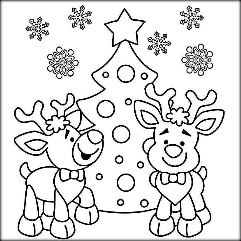 768x768 Christmas Colouring Reindeer