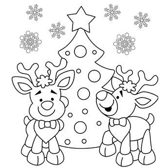 345x345 Christmas Reindeer Coloring Page For Christmas Printable