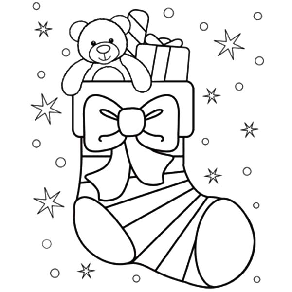 600x600 Little Teddy Bear In Christmas Stockings Coloring Pages